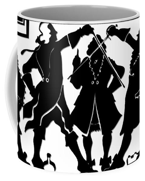 Sword Duel Coffee Mug featuring the digital art Sword Duel Silhouette by Rose Santuci-Sofranko
