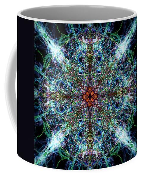 Symmetry Coffee Mug featuring the digital art Symmetrical Silk Strands by Phil Perkins