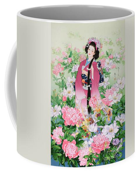 Haruyo Morita Digital Art Coffee Mug featuring the digital art Syunsyo by MGL Meiklejohn Graphics Licensing