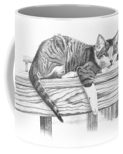 Cat Coffee Mug featuring the drawing Tabby Cat by Dustin Miller