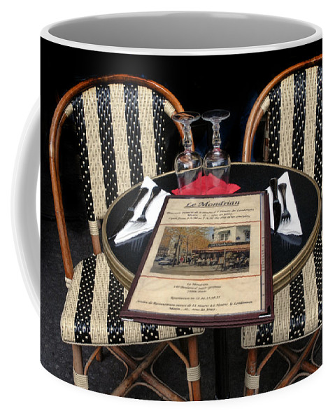 Restaurant Coffee Mug featuring the photograph Table For Two In Paris by Dave Mills