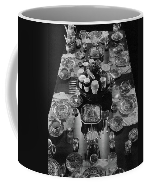 Interior Coffee Mug featuring the photograph Table Settings On Dining Table by The 3