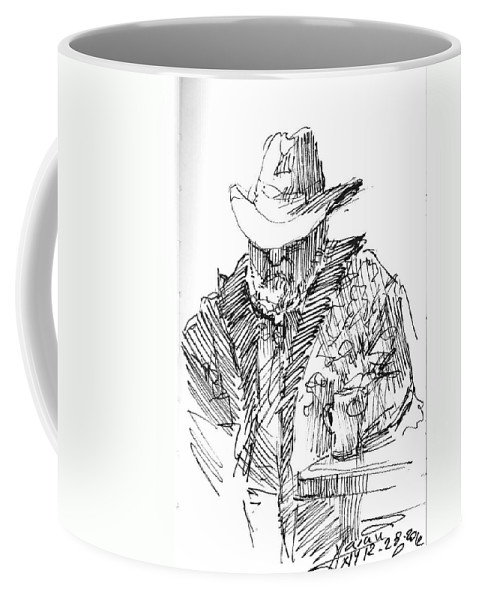 Cowboy Coffee Mug featuring the drawing Taking A Nap by Ylli Haruni