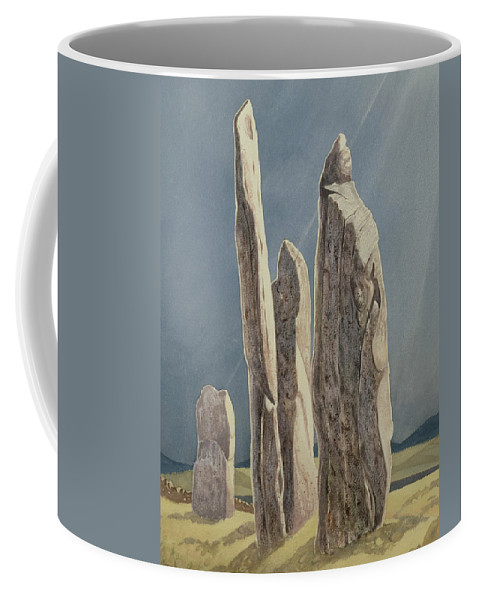 Legend Coffee Mug featuring the painting Tall Stones Of Callanish Isle Of Lewis by Evangeline Dickson
