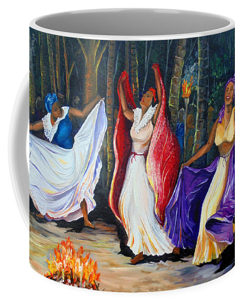Caribbean Dance Coffee Mug featuring the painting Tamboulay by Karin Dawn Kelshall- Best