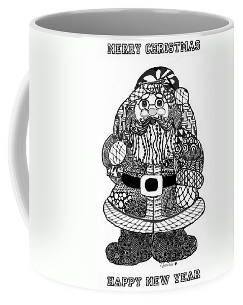 Zentangle Coffee Mug featuring the digital art Tangled Santa by Quwatha Valentine
