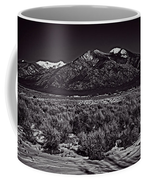 Santa Coffee Mug featuring the photograph Taos Mountain In Black And White by Charles Muhle