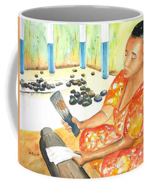 Woman Coffee Mug featuring the painting Tapa Stretch by CarlinArt Watercolor