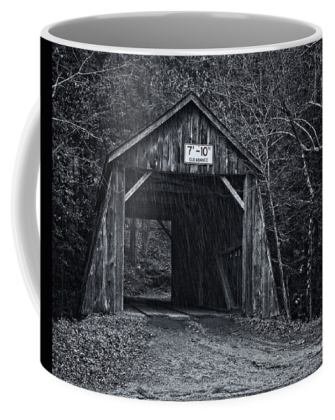 Joan Carroll Coffee Mug featuring the photograph Tappan Covered Bridge Bw by Joan Carroll