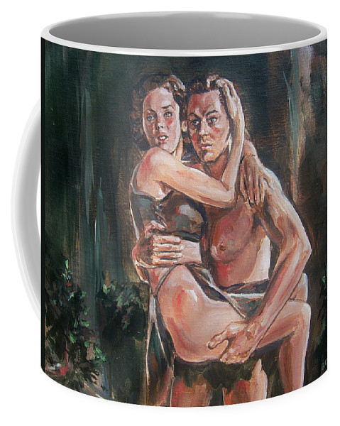 Tarzan Coffee Mug featuring the painting Tarzan And His Mate by Bryan Bustard