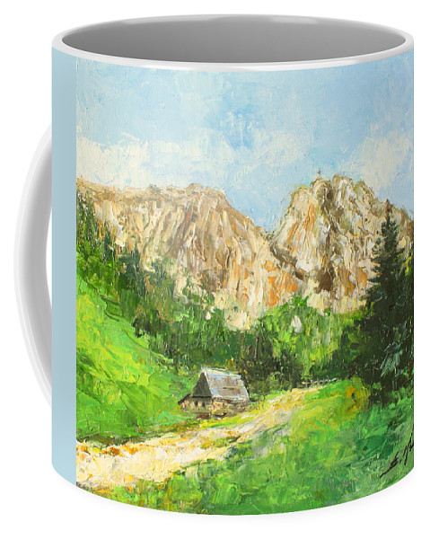 Giewont Coffee Mug featuring the painting Tatry Giewont - Poland by Luke Karcz