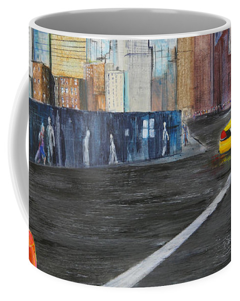 Taxi Coffee Mug featuring the painting Taxi 9 Nyc Under Construction by Jack Diamond