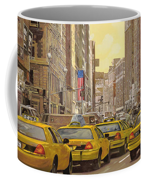 New York Coffee Mug featuring the painting taxi a New York by Guido Borelli