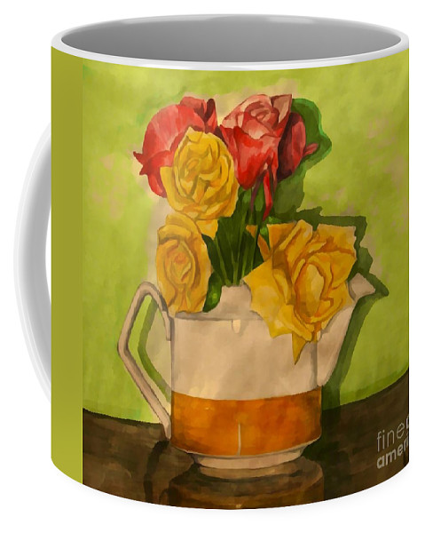 Tea Roses Coffee Mug featuring the painting Tea Roses by Joan-Violet Stretch