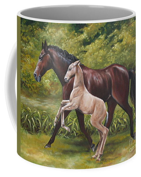 Horse Coffee Mug featuring the painting Teaching The Ropes by Debbie Hart