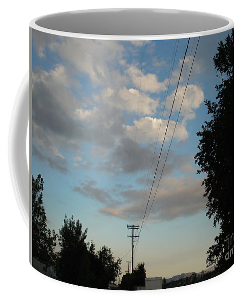 Aviation Coffee Mug featuring the photograph Telephone polls and sunset by De La Rosa Concert Photography