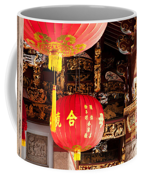 Red Coffee Mug featuring the photograph Temple Lanterns 01 by Rick Piper Photography