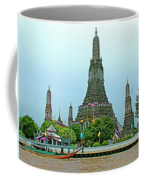 Temple Of The Dawn Coffee Mug featuring the photograph Temple Of The Dawn-wat Arun From Waterways Of Bangkok-thailand by Ruth Hager