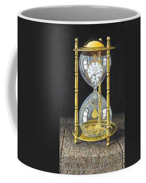 Still Life Coffee Mug featuring the painting Tempus Pecunia Est by Richard Harpum