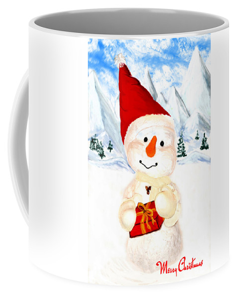 Christmas Coffee Mug featuring the painting Tender Snowman by Gina Dsgn