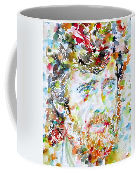 Terence Mckenna Coffee Mug featuring the painting Terence Mckenna - Watercolor Portrait.3 by Fabrizio Cassetta