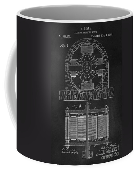 Nikola Coffee Mug featuring the photograph Tesla Coil Patent Art by Edward Fielding