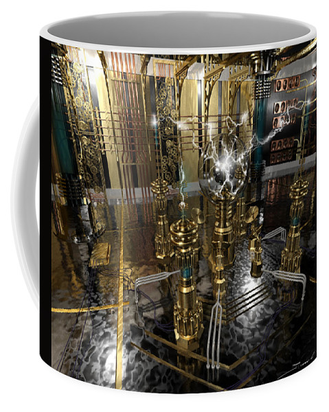 Steampunk Coffee Mug featuring the painting Tesla Power Generator by James Christopher Hill