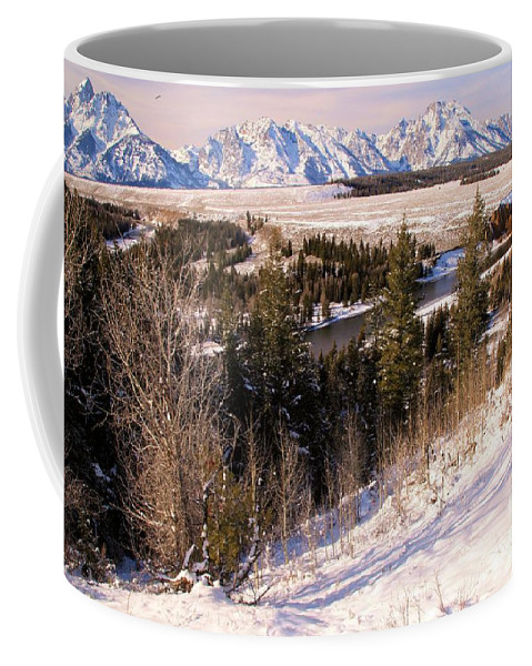 Grand Teton National Park Coffee Mug featuring the photograph Tetons In The Distance by Adam Jewell