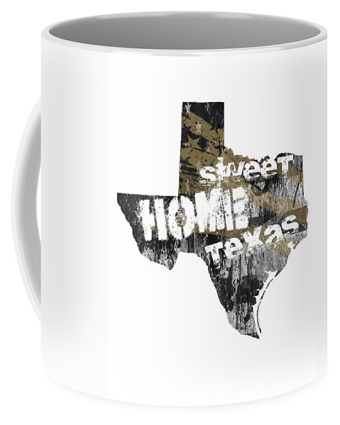 Texas Coffee Mug featuring the digital art Texas Map Cool by Voros Edit