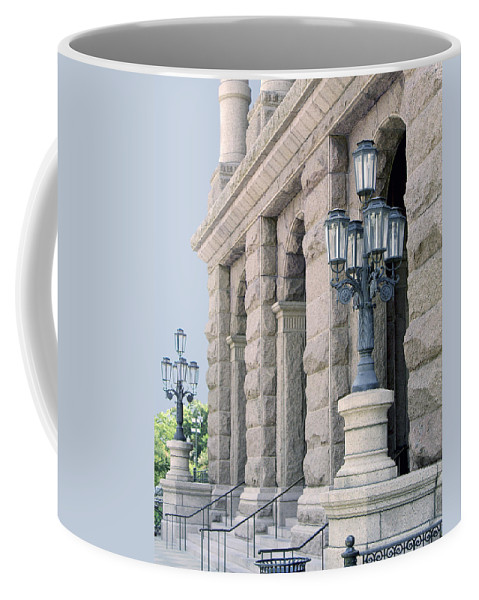 State Capitol Buildings Coffee Mug featuring the photograph Texas State Capitol North Portico by Jim Smith