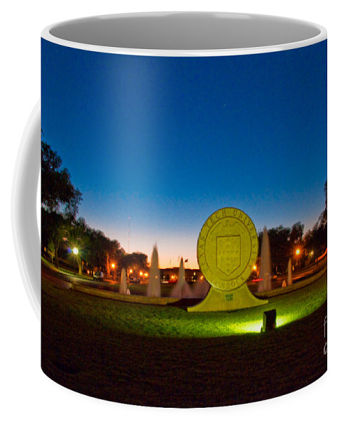 Texas Tech Seal At Night Coffee Mug featuring the photograph Texas Tech Seal At Night by Mae Wertz
