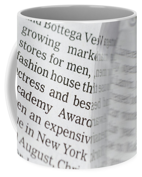 Newspaper Coffee Mug featuring the photograph Text And Eyeglasses by Mats Silvan