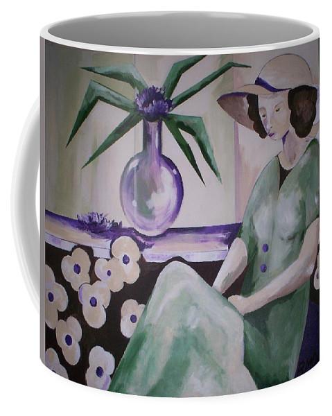 Barbara Moak Coffee Mug featuring the painting Texting..where R U by Barbara Moak