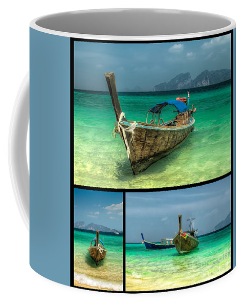 Hdr Coffee Mug featuring the photograph Thailand Longboats by Adrian Evans