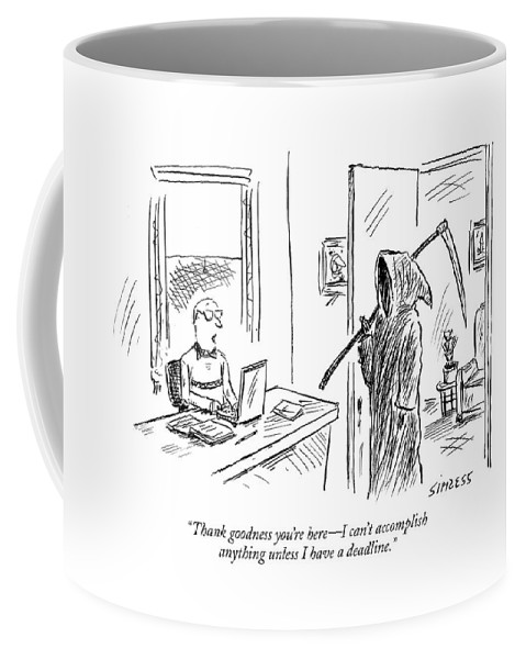 Grim Reaper Writers Death Motivation  (man At Computer Talking To Grim Reaper.) 120214 Dsi David Sipress Coffee Mug featuring the drawing Thank Goodness You're Here - I Can't Accomplish by David Sipress