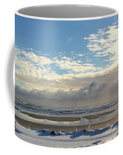 Thanksgiving Coffee Mug featuring the photograph Icy Beach by Laurie Pocher