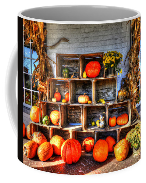 Thanksgiving Coffee Mug featuring the photograph Thanksgiving Pumpkin Display No. 1 by Greg Hager