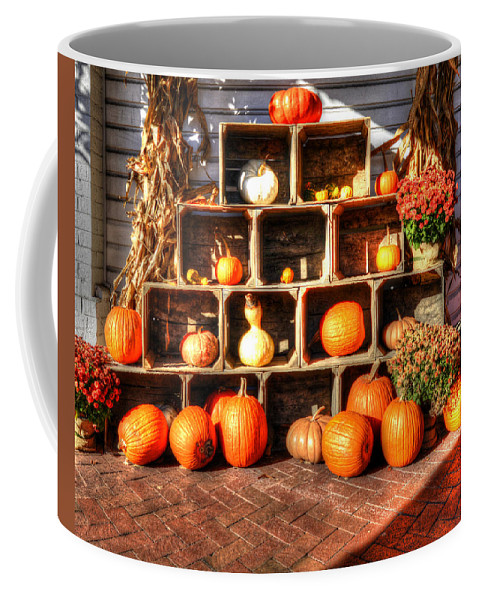 Thanksgiving Coffee Mug featuring the photograph Thanksgiving Pumpkin Display No. 2 by Greg Hager