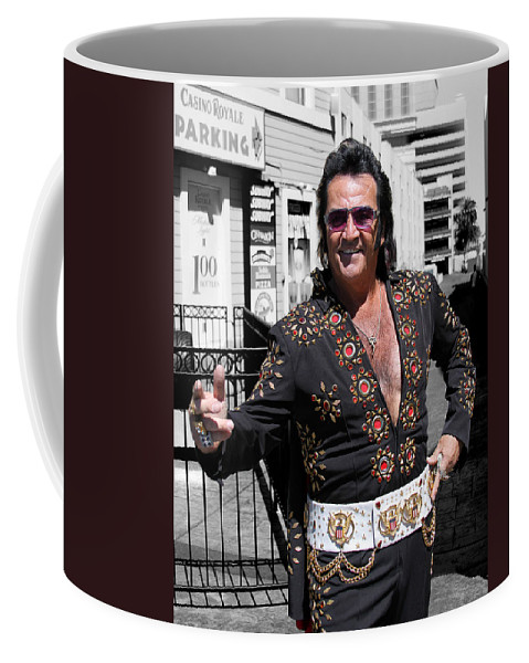Elvis Coffee Mug featuring the photograph Thankyouverymuch Las Vegas by William Dey