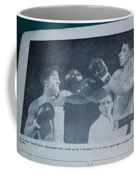 I Lost By Unaminous Decision Coffee Mug featuring the photograph That Me Fighting Erving Nard In 1954 by Robert Floyd