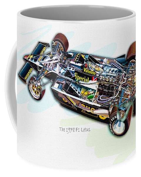 Cat Coffee Mug featuring the digital art The 1978 F1 Lotus by Don Kuing