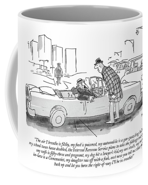 (driver Of Convertible Stuck In Traffic To Other Motorist Standing Beside Car.)automobiles Coffee Mug featuring the drawing The Air I Breathe Is Filthy by George Booth