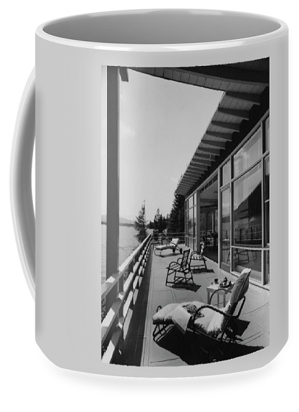 Architecture Coffee Mug featuring the photograph The Alfred Rose Lake Placid Summer Home by Robert M. Damora