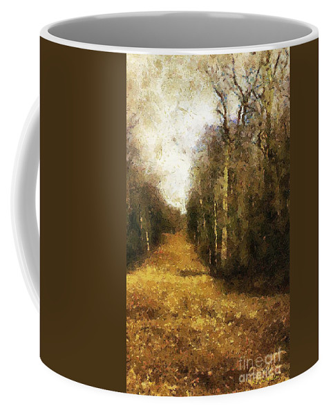 Autumn Coffee Mug featuring the painting The Allee At Dawn by RC DeWinter