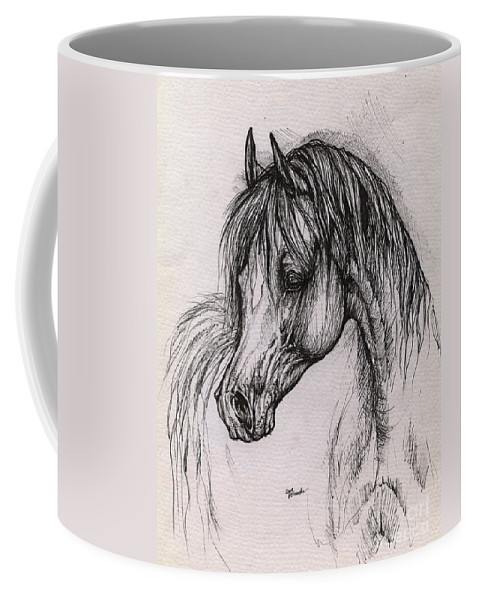 Arabian Horse Coffee Mug featuring the drawing The Arabian Horse With Thick Mane by Angel Tarantella