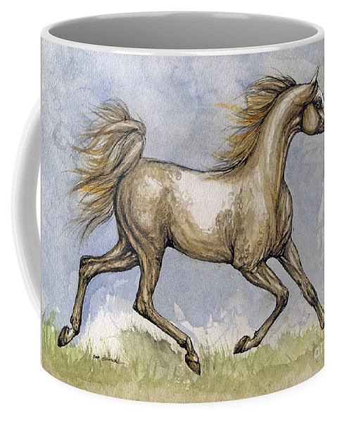 Mare Coffee Mug featuring the painting The Arabian Mare Running by Angel Tarantella