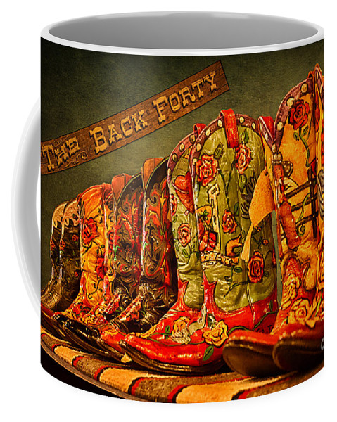 Cowgirl Boots Coffee Mug featuring the photograph The Back Forty Boots Are Made For Dancin' by Priscilla Burgers