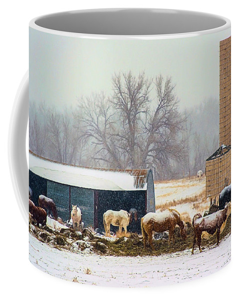 A Barn Yard Captured With The Snowing Falling. Coffee Mug featuring the photograph The Barn Yard by Steven Reed