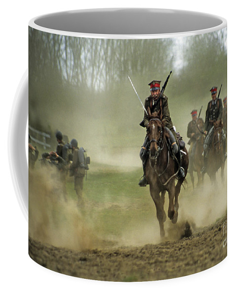 Cavalry Coffee Mug featuring the photograph The Battle by Angel Tarantella
