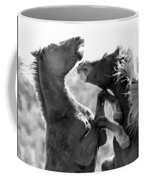 Horses Coffee Mug featuring the photograph The Battle by Athena Mckinzie